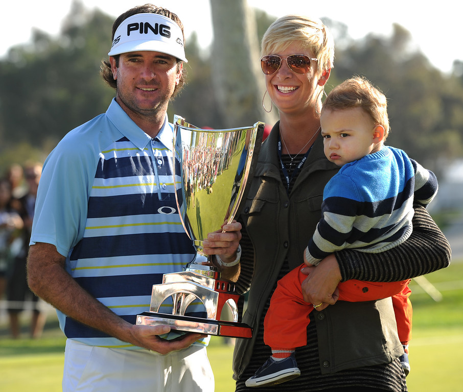. Bubba Watson with his wife Angie and son Caleb. Watson won the 2014 Northern Trust Open. Pacific Palisades, CA. February 16, 2014 (Photo by John McCoy / Los Angeles Daily News)