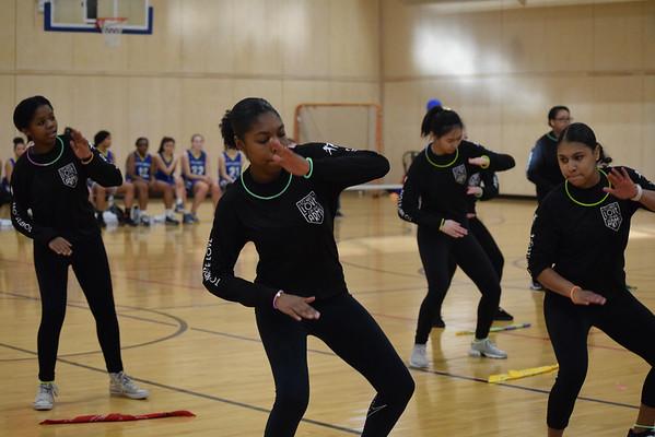Step Team Performs at Varsity Basketball Halftime