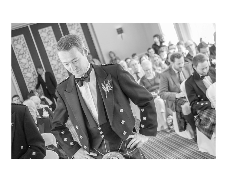 Wedding Photography of Susan & Ross, Barony Castle, Peebles, Scotland, Photograph is of the Groom waiting before the ceremony