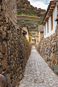 Ancient stone walkway Ollantaytambo Peru
