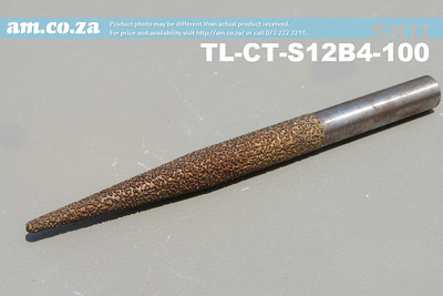 TL-CT-S12B4-100, 12mm Tapered Ball Nose (4mm) Marble Stone Router Bit with 100mm Coarse Grit, Full Length ⩾150mm