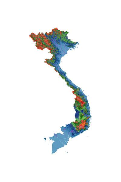 Elevation map of Vietnam
