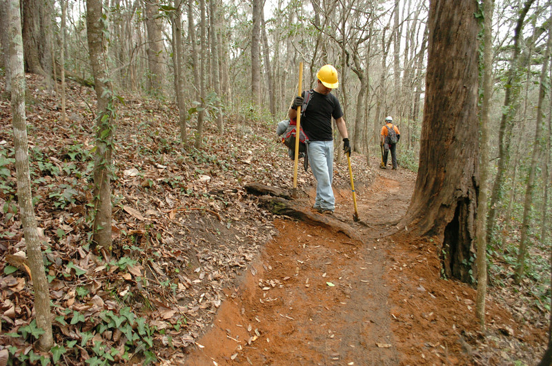 """Hector and Cristino will spend a good amount of time locking in this nice """"petrified"""" tree and root. We're just east of C22, around the bend from the Hilly Gully bridge."""