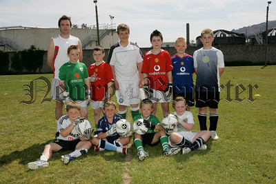 Trainer John Connolly with some of the participants of the goalkeeping skills training at Newry Showgrounds.