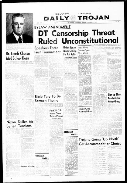 Daily Trojan, Vol. 49, No. 18, October 17, 1957