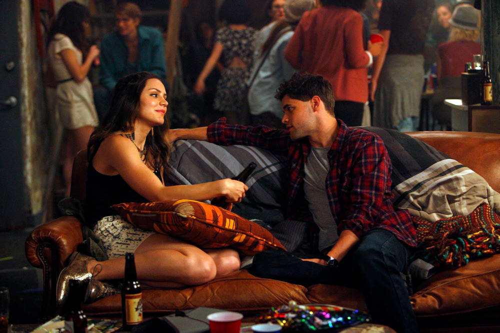 """. SMASH -- \""""The Fallout\"""" Episode 202 -- Pictured: (l-r) Katharine McPhee as Karen Cartwright, Jeremy Jordan as Jimmy Collins -- (Photo by: Will Hart/NBC)"""