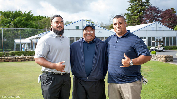 Willie Teleso (Jnr), Willie Teleso (Snr) and Pelefoti Sagapolutele from American Samoa at Practice Day 1 of the Asia-Pacific Amateur Championship tournament 2017 held at Royal Wellington Golf Club, in Heretaunga, Upper Hutt, New Zealand from 26 - 29 October 2017. Copyright John Mathews 2017.   www.megasportmedia.co.nz
