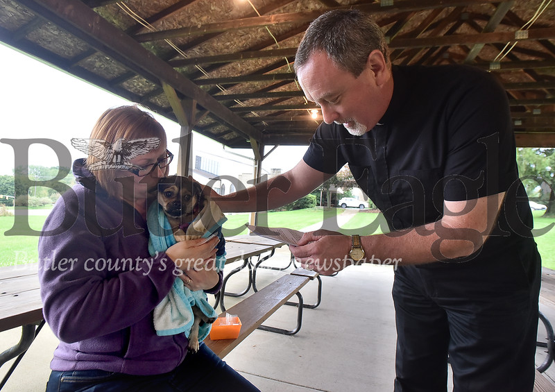 88392 Dogs receive blessings on the Feast of St. Francis of Assisi at Trinity Lutheran Church in Center Twp