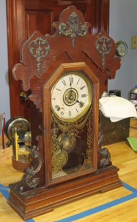 """Seth Thomas """"Metals No. 1"""" Oak Kitchen Clock Dated 1899"""