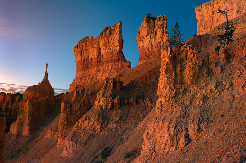 WInd-carved snadstone with early formations of hoodoos, Bryce National Park, Utah, USA.