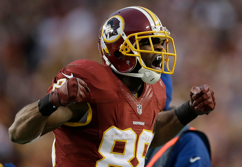. Washington Redskins wide receiver Pierre Garcon reacts to his reception during the first half of an NFL wild card playoff football game against the Seattle Seahawks in Landover, Md., Sunday, Jan. 6, 2013. (AP Photo/Matt Slocum)