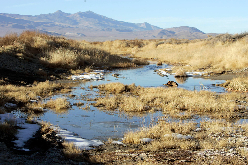 . The Sierra Nevada is the backdrop for this section of the Owens River near Independence, Calif., Wednesday, Dec. 6, 2006,  (AP Photo/Reed Saxon)