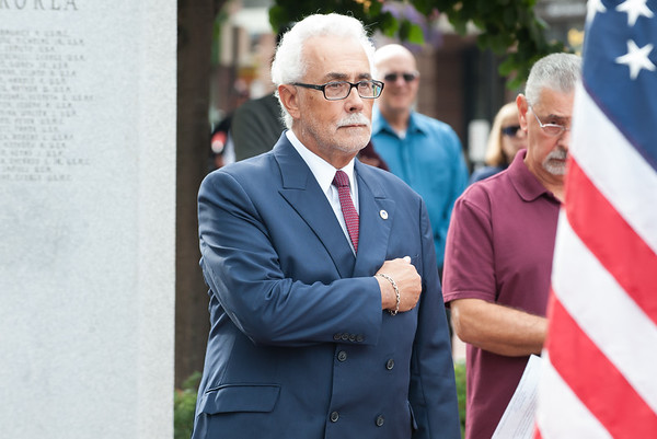 09/11/18 Wesley Bunnell | Staff New Britain unveiled its newest monument in Central Park which is dedicated to the War on Terror following the 9/11 attacks. Coast Guard Veteran and City Council member Daniel Salerno.