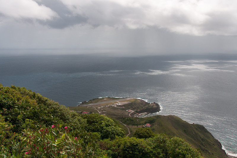 Storm brewing over the airport on the island of Saba