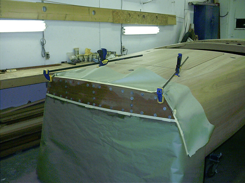 Top transom plank installed.