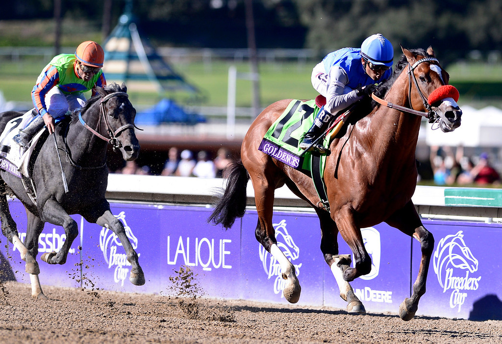 . Rafael Bejarano on Goldencents wins the Breeders\' Cup Dirt Mile race at the Breeders\' Cup at Santa Anita Park in Arcadia Friday, November 1, 2013. (Photo by Sarah Reingewirtz/Pasadena Star-News)