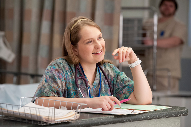 ". This image released by Showtime shows Merritt Wever as Zoey in ""Nurse Jackie.\"" Wever was nominated for an Emmy Award for best supporting actress in a comedy series on, Thursday July 18, 2013. The Academy of Television Arts & Sciences\' Emmy ceremony will be hosted by Neil Patrick Harris. It will air Sept. 22 on CBS. (AP Photo/Showtime, David M. Russell)"