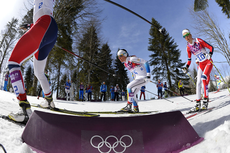 . From left: Norway\'s Marit Bjoergen, Sweden\'s Charlotte Kalla and Norway\'s Kristin Stoermer Steira compete in the Women\'s Cross-Country Skiing 30km Mass Start Free at the Laura Cross-Country Ski and Biathlon Center during the Sochi Winter Olympics on February 22, 2014, in Rosa Khutor, near Sochi.  (ODD ANDERSEN/AFP/Getty Images)