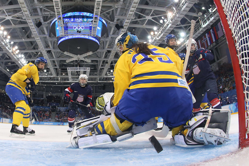 . Sweden\'s goalkeeper Valentina Lizana Wallner fails to stop a goal during the Women\'s Ice Hockey Semifinals USA vs Sweden at the Shayba Arena during the Sochi Winter Olympics on February 17, 2014.        AFP PHOTO / POOL / BRUCE BENNETTBRUCE BENNETT/AFP/Getty Images