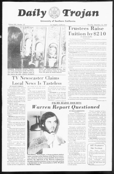 Daily Trojan, Vol. 66, No. 57, December 13, 1973