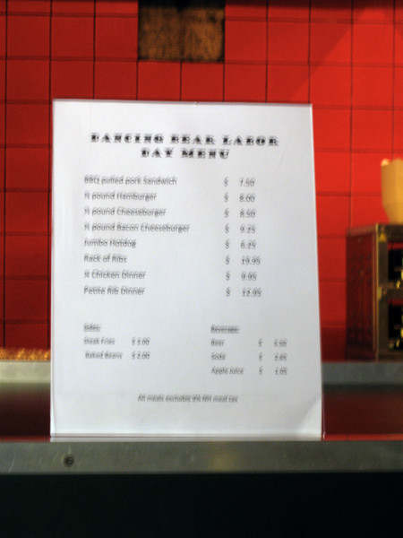Special Labor Day menu at Dancing Bear Canteen (blurry).