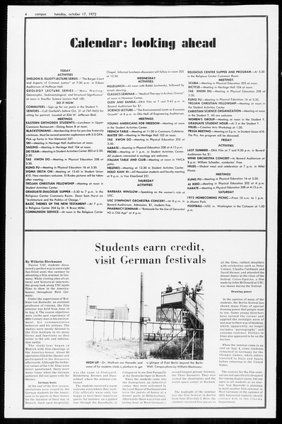 Daily Trojan, Vol. 65, No. 20, October 17, 1972