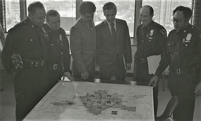 Police Officers with IPD Map, Circa 1978, Img. 2