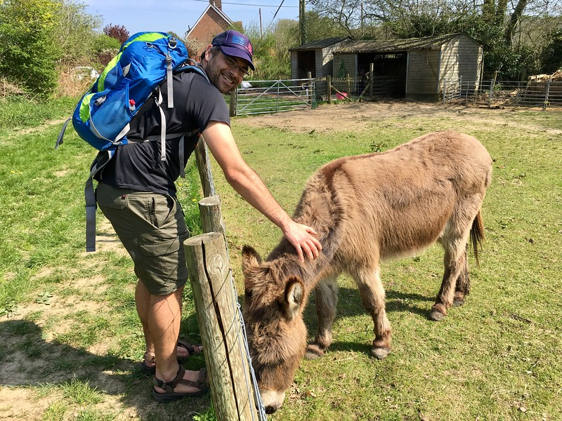 Graham making friends with local donkeys