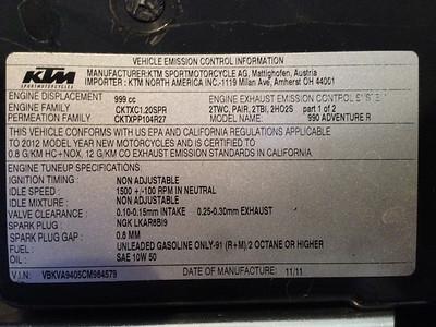 2012 KTM 990 Adventure R vin emissions sticker