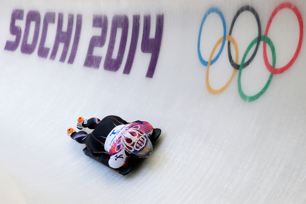 . Noelle Pikus-Pace of the United States makes a run during the Women\'s Skeleton heats on Day 6 of the Sochi 2014 Winter Olympics at Sliding Center Sanki on February 13, 2014 in Sochi, Russia.  (Photo by Adam Pretty/Getty Images)