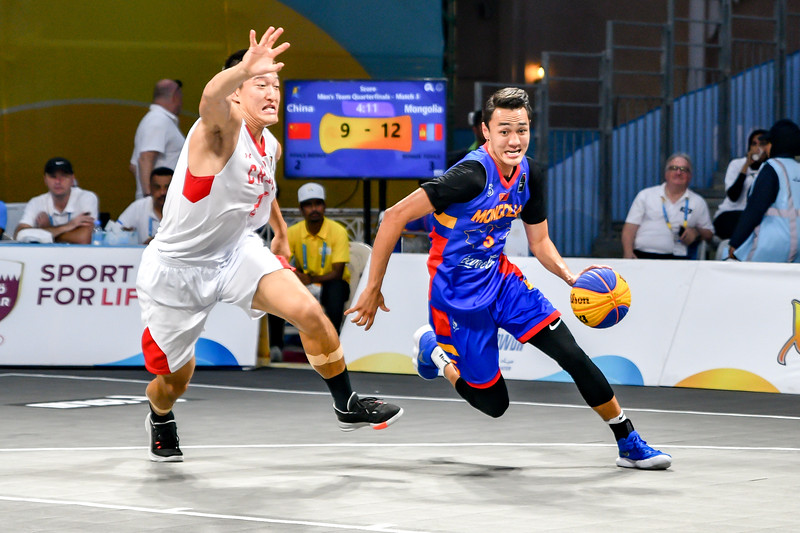 Mongolia and China in action in the quarter finals of the International 3x3 Basketball Tournament during the 1st ANOC World Beach Games at Katara on October 16, 2019 in Doha, Qatar. Photo by Tom Kirkwood/SportDXB