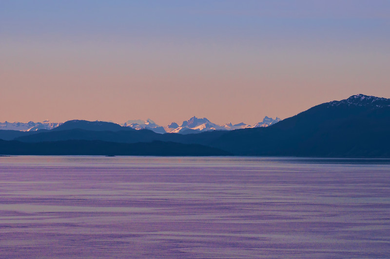 A wondrous sunset with Alpine glow on the mountain tops as seen from our cruise ship.