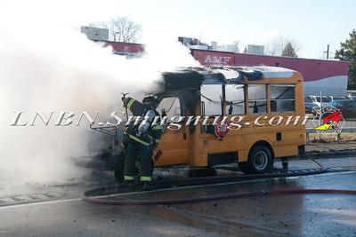West Babylon F.D. School Bus Fire E/B Sunrise Hwy Express IFO Babylon Bowl 12-17-14