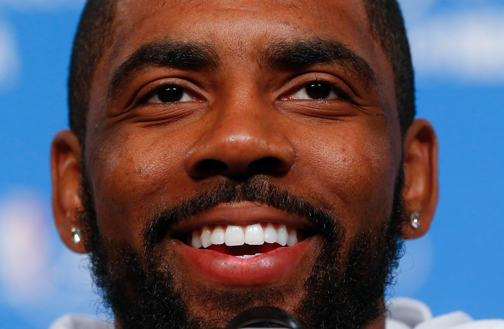 . Cleveland Cavaliers guard Kyrie Irving smile while talking with the media after NBA basketball practice in Cleveland, Thursday, June 9, 2016. The Cavaliers, trailing 2 games to 1, host the Golden State Warriors in Game 4 of the NBA  Finals on Friday. (AP Photo/Paul Sancya)