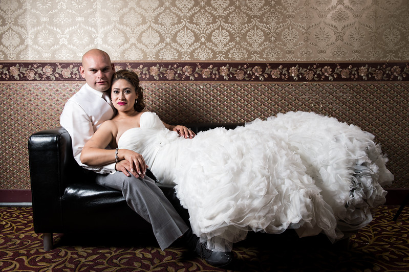 elegant bride and groom portrait at Paradise palace banquet hall