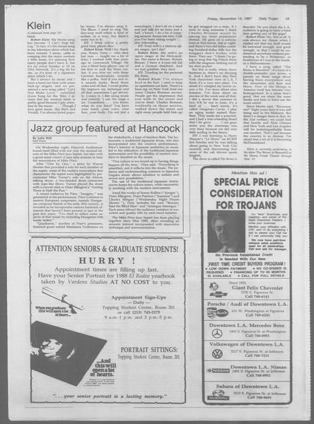 Daily Trojan, Vol. 105, No. 51, November 13, 1987