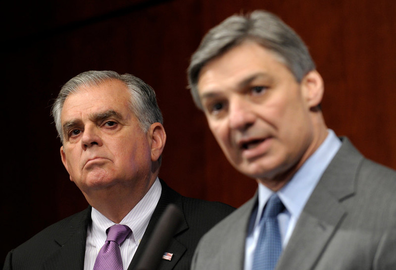 . Transportation Secretary Raymond LaHood listens at left as Boeing Commercial Airplanes President Ray Conner speaks during a news conference at the Transportation Department in Washington, Friday, Jan. 11, 2013, to discuss a comprehensive review of Boeing 787 critical systems, including the design, manufacture and assembly. (AP Photo/Susan Walsh)
