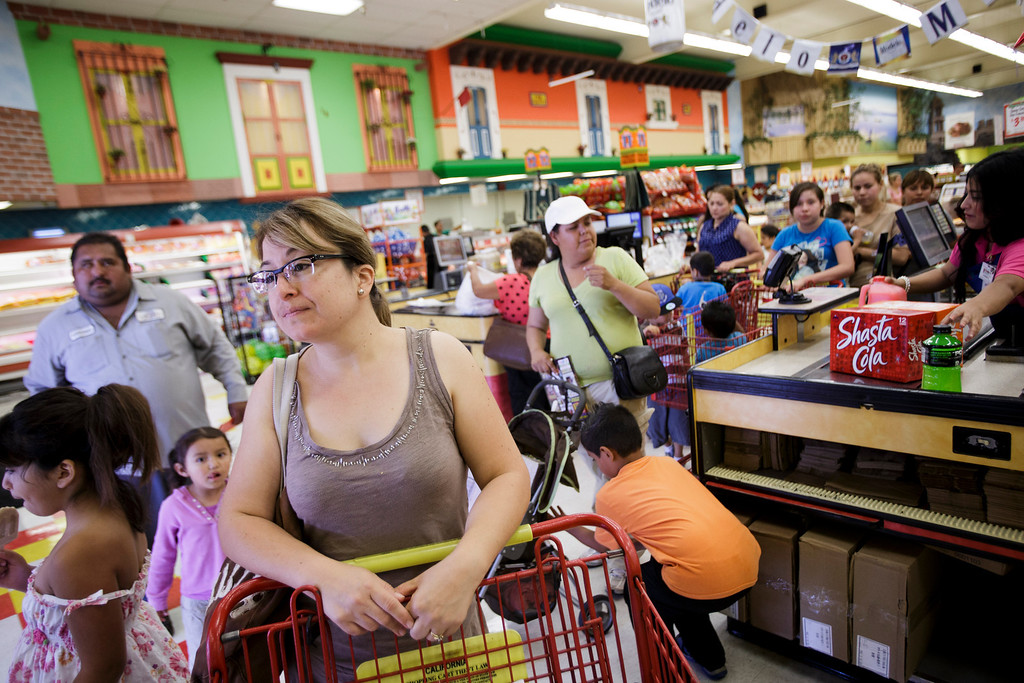 . Alma Colon of Santa Clara speaks to this newspaper at Mi Pueblo Food Center in San Jose on July 24, 2013. The Bay Area supermarket chain filed for Chapter 11 bankruptcy protection Monday, citing a dispute with its primary lender, Wells Fargo. (Dai Sugano/Bay Area News Group)