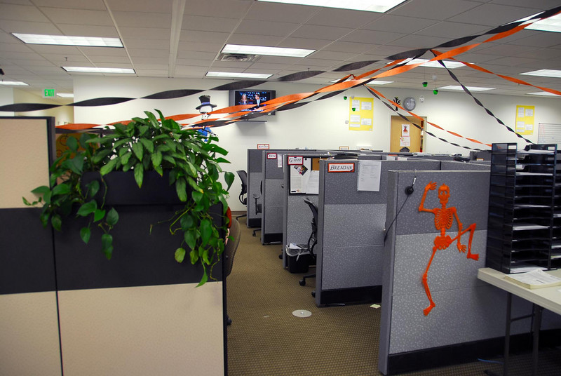 10/15/07 – Some of the employees decided to decorate over the weekend. This is my end of the building.