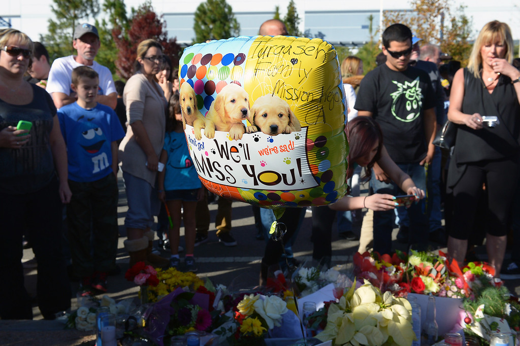 . A balloon at a memorial for Paul Walker and Roger Rodas, Sunday, December 1, 2013, at the scene of their fatal crash site in Valencia. (Photo by Michael Owen Baker/L.A. Daily News)
