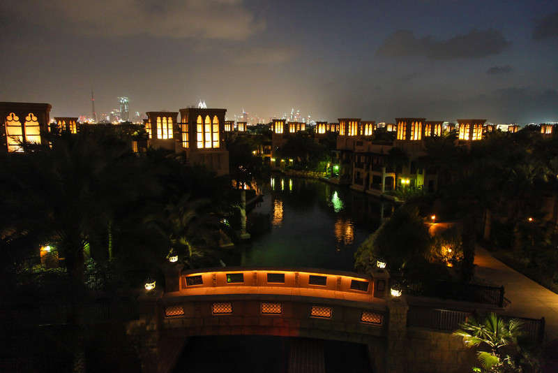 A view of the city in the background from above the canals at Madinat Jumeirah.