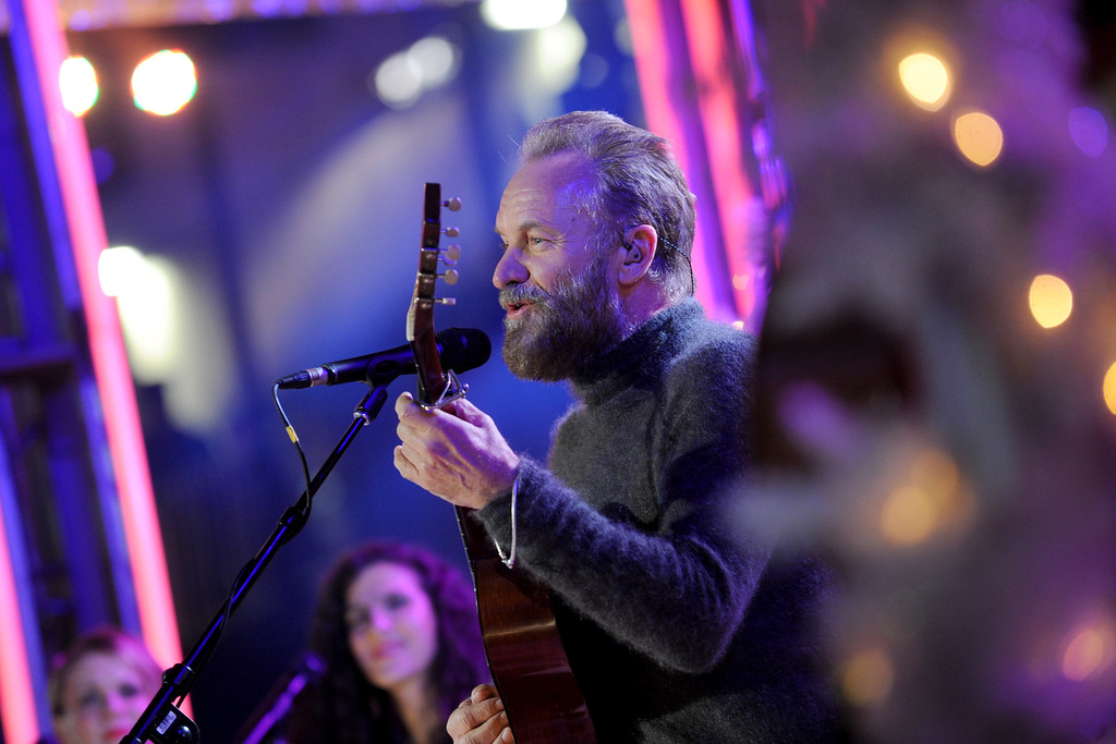 . IMAGE DISTRIBUTED FOR TISHMAN SPEYER - Sting performs at the 2015 Rockefeller Center Christmas Tree Lighting Ceremony, Wednesday, Dec. 2, 2015 in New York. (Photo by Diane Bondareff/Invision for Tishman Speyer/AP Images)