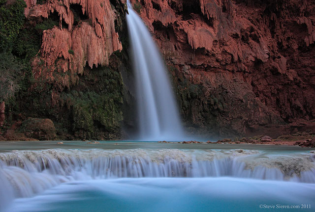 Havasu Falls at Dusk, Havasu Canyon, Grand Canyon, Arizona