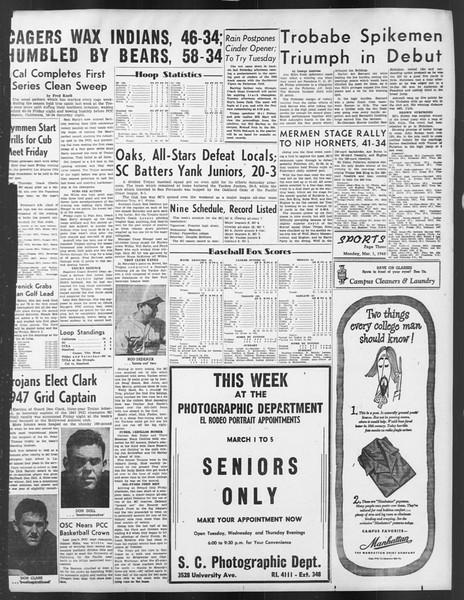 Daily Trojan, Vol. 39, No. 89, March 01, 1948