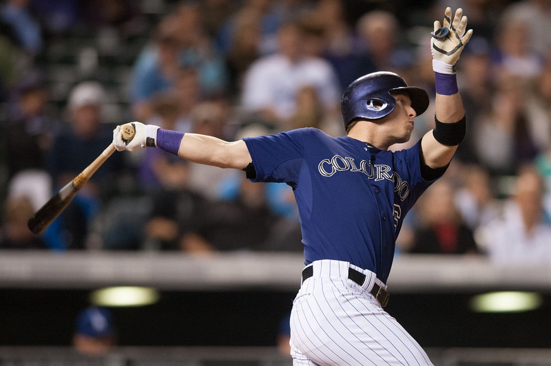 . Corey Dickerson #6 of the Colorado Rockies hits a fifth-inning RBI single against the Los Angeles Dodgers during a game at Coors Field on September 15, 2014 in Denver, Colorado.  (Photo by Dustin Bradford/Getty Images)