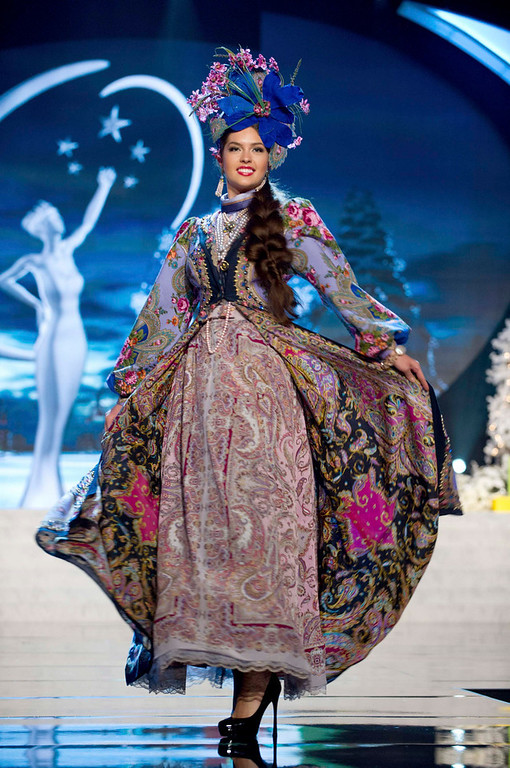 . Miss Russia Elizabeth Golovanova performs onstage at the 2012 Miss Universe National Costume Show at PH Live in Las Vegas, Nevada December 14, 2012. The 89 Miss Universe Contestants will compete for the Diamond Nexus Crown on December 19, 2012. REUTERS/Darren Decker/Miss Universe Organization/Handout