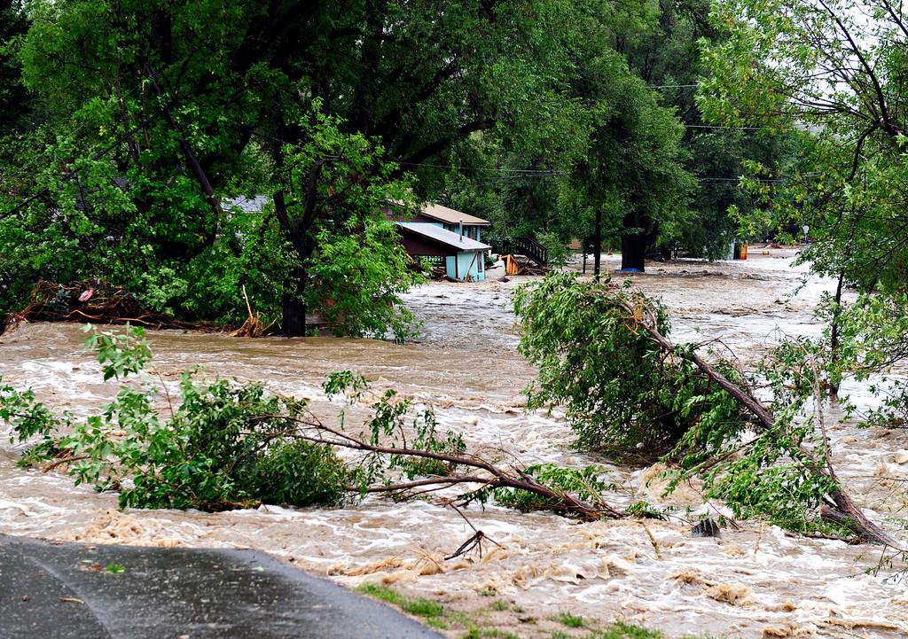 . Flood damage in Lyons Friday, Sept. 13, 2013. (Greg Lindstrom/Times-Call)