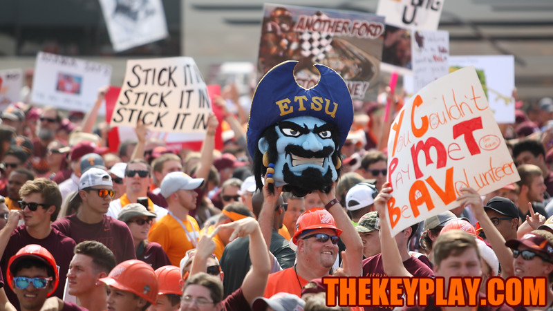 An Easter Tennessee fan holds up a pirate mascot head during ESPN College Gameday. ETSU plays Western Carolina at Bristol Motor Speedway the week after the Virginia Tech - Tennessee game. (Mark Umansky/TheKeyPlay.com)
