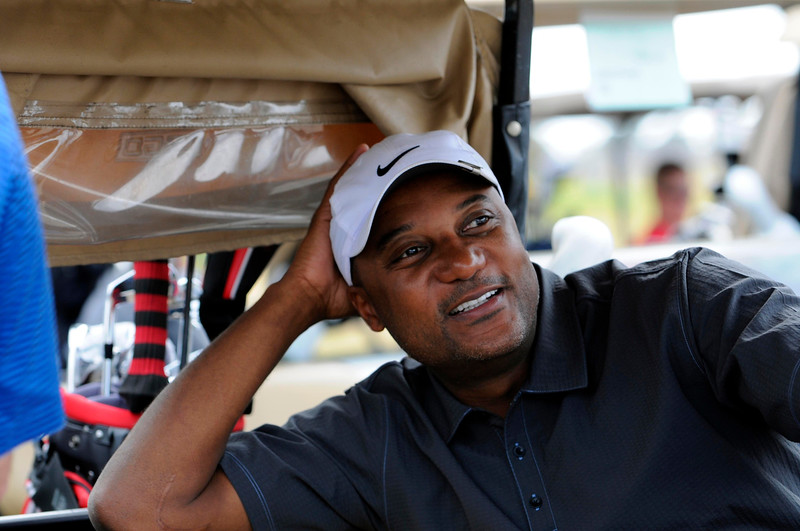 . In this Nov. 11, 2011, file photo, former professional baseball player Darryl Hamilton sits in a golf cart at the Urban Youth Academy Celebrity Golf Classic, hosted by Ron Washington and Chad Gaudin, at English Turn Golf Course in New Orleans. Authorities say Hamilton was killed Sunday, June 21, 2015, in a murder-suicide in the Houston suburb of Pearland, Texas. Pearland police say an initial investigation has determined Hamilton had been shot several times and that a woman in the home died of a self-inflicted gunshot wound. The woman was identified as Monica Jordan. (Cheryl Gerber/AP Images for MLB, via AP, File)