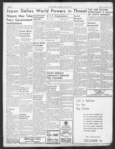 Daily Trojan, Vol. 29, No. 45, November 22, 1937